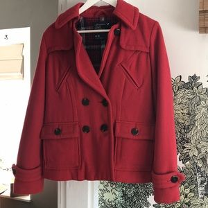 American Eagle Outfitters Red Pea Coat